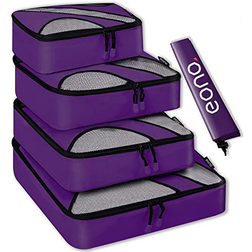 Amazon Brand - Eono Organizer per Valigie Organizzatori da Viaggio Sistema di Cubo di Viaggio Cubo Borse di Stoccaggio Luggage Packing Organizers Travel Packing Cubes - 5 Pezzi, Viola
