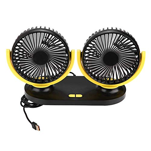 HYCy Auto Ventilator, USB Dual Head Auto luuml;fter Tragbare Klimaanlage Autokuuml;hler Beluuml;ftung 12V Tischventilator 350 Grad Drehung KFZ Ventilator Fuuml;r Fahrzeug LKW Ruuml;cksitz (Graugelb)