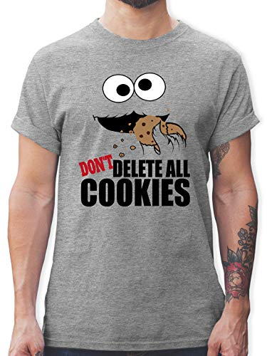 Nerds & Geeks - Don't Delete The Cookies! Keks-Monster - M - Grau meliert - T-Shirt - L190 - Tshirt Herren und Männer T-Shirts