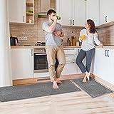 Delxo Kitchen Rug Sets,2 Piece Non-Slip Soft Super Absorbent Kitchen Mat Doormat Carpet Set,Chenille Microfiber Material,20'X30'+20'X60' (Grey)