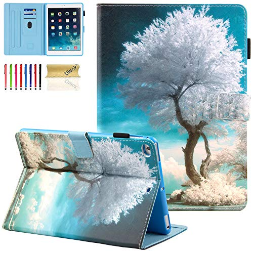 Dteck 9.7-Inch Case for iPad 6th Generation 2018 & iPad 5th Generation 2017 & iPad Air 2 & iPad Air 1 Tablet - Magnetic Stand Synthetic Leather Protective Smart Wallet Flip Fold Cover (Snow Tree)