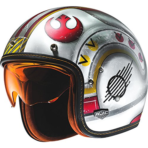 HJC FG-70S X-Wing Fighter Pilot Open Face Motorcycle Helmet, Rot/Weiß, L