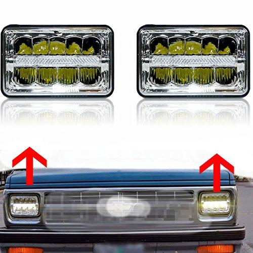 Lot de 2 phares à LED rectangulaires 10,2 x 15,2 cm avec feux de stationnement, feux de croisement et feux de position HID Xenon H4651 H4652 H4656 H4666 H6545 pour camion