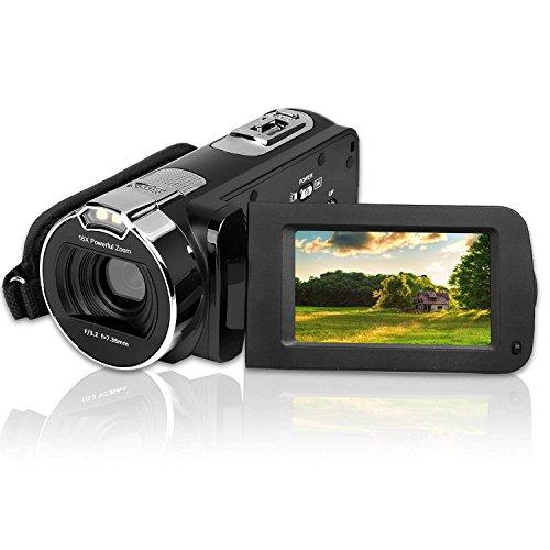Video Camera Camcorder, CamKing 24MP HD 1080P Digital Video Camera 16X Digital Zoom Camera with 3.0' LCD and 270 Degree Rotation Screen Vlogging Camera for Youtube