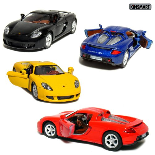 "Set of 4: 5"" Porsche Carrera GT 1:36 Scale (Black/Blue/Red/Yellow) by Kinsmart"