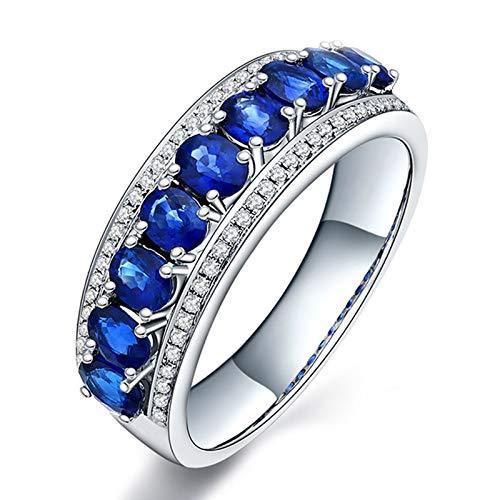 Aimsie Mujer Unisex AU 750 oro blanco 18 quilates (750) talla ovalada azul Sapphire