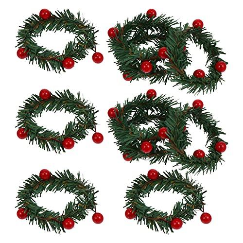 IMIKEYA 10Pcs Santo Bacca Artificiale Bacche Rosse Candela di Natale Anelli di Tovagliolo Votives Candela Titolare Ghirlanda Tabella Tovagliolo Fibbie Ornamento per La Casa di