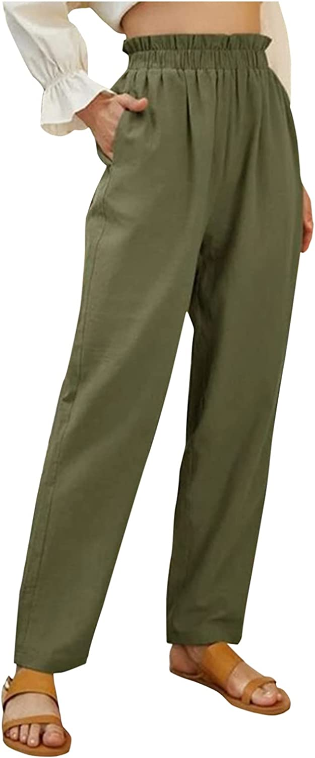 IKDXUF Womens Solid Color Elastic High Waist Pant Wide Leg Pants Casual Loose Trouser Sweatpant with Pockets