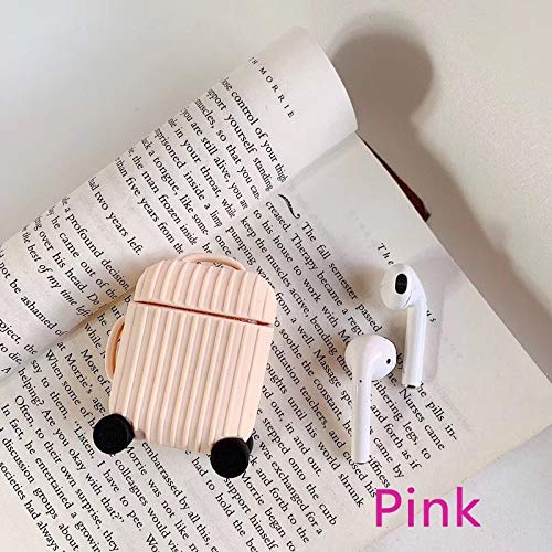 Nett Lightness Airpods Case, Cute Suitcase Airpods Case Cover, Silicone Airpods Protective Cover for Airpods1/2 gift (Color : Pink, Size : Airpods1/2)