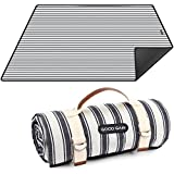 Waterproof Picnic Blanket Portable with Carry Strap for Beach Mat or Family Outdoor Camping Party (Double Stripe)
