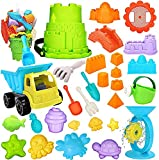 RichSmile 32Pcs Kids Beach Sand Toys Set with Mesh Bag Includes 10 Sand Castle Molds, Water Wheel, Bucket, Sand Shovel Tool Kits, Mycaron Sand Molds, Play Sand Toys for Toddlers Kids Outdoor Orange