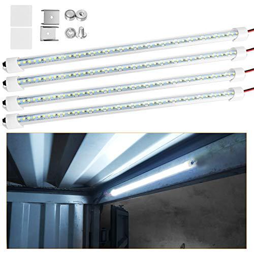 Linkstyle 4 x 48 Luces LED Coche Interior, 3W 6500K 12V Tira de Luces LED con Interruptor para Remolque camioneta RV Barco de Carga, 700LM luz Blanca, lámpara Cerrada Delgada para Dormitorio Cocina