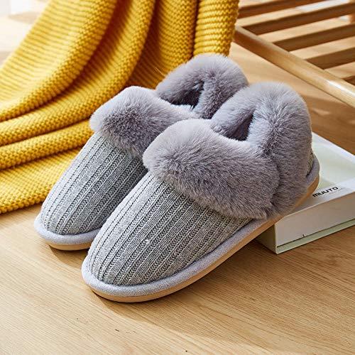 Homeen Pantuflas de invierno para niñas jóvenes, de felpa de punto, lavables a máquina, zapatos cálidos de casa para mujer, pantuflas para exteriores gris_37/38