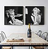 zszy Schwarz und Weiß Marilyn Monroe Leinwand Kunst Mode
