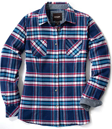 CQR Women's Plaid Flannel Shirt Long Sleeve, All-Cotton Soft Brushed Casual Button Down Shirts, Flannel Plaid(wof002) - Westcoast Blue, XX-Large