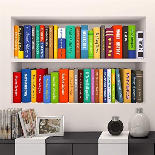 WLYUE Diy Wandbilder, 2 teile/satz 3D Effekt Buch Bücherregal Wandaufkleber Schlafzimmer Schule Büro Decor Poster PVC Retro Bücherregal 3D wandtattoo