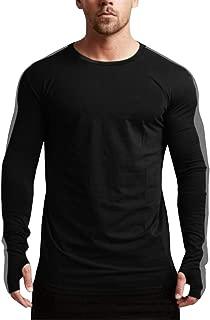 Mens Hipster Long Sleeve Shirts Hip Hop Slim Fit Color Block Striped T Shirts