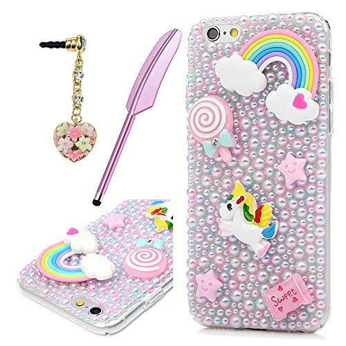 MOTIKO iPhone 6 Coque, Licorne Rose Fait à la Main Bling Perles de Cristal Clair PC Coque Rigide de Protection Coque avec Prise de la poussière et Stylet pour iPhone 6/iPhone 6S