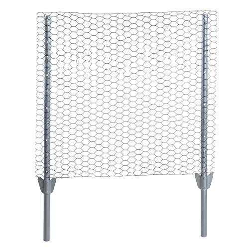 ESTEXO Zaun-Set Komplett-Set Sechseckgeflecht Zaun Draht Hasendraht Drahtzaun Drahtgeflecht 6eck Gartenzaun Drahtgitter mit Pfosten (Verzinkt / 25 mm / 0,75 x 10 m)