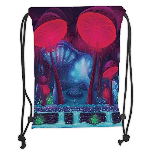Drawstring Backpacks Bags, Mushroom Dekoration, Magic Mushrooms mit leuchtendem Neon Lights Graphic Bild Enchanted Forest Theme Print,Blue Red Soft Satin, 5 l, Verstellbarer String