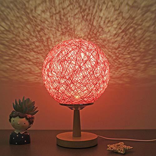 YLSMN Lampada da comodino camera da letto calda moda creativa semplice decorazione moderna luce notturna idilliaca lampada da tavolo a sfera in rattan spago