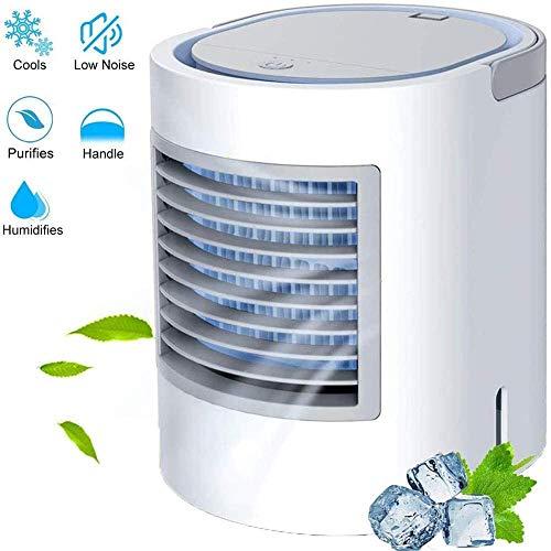 Enfriador de aire personal,ventilador de aire acondicionado portátil,3 en 1Mini usb load Enfriador de aire,purificador de humidificador para el hogar,enfriador evaporativo con manija Luz nocturna-Azul