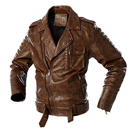 Chaqueta de piel sintética para hombre, para invierno, para motocicleta, con espesor, para exteriores, blusa