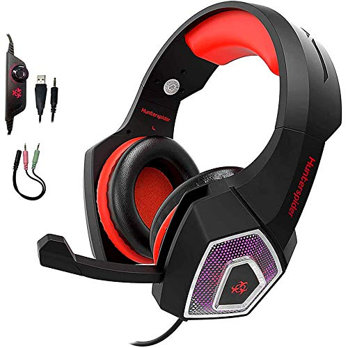Gaming Headset for PS4 Xbox One, YCCSKY Wired Over Ear Headphone PC USB Gaming Headset with Noise Canceling Mic and LED Light, Compatible with PS4/Xbox One/Mac/Tablets/PC/Laptop/Mobile Phone (Red)