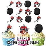 Precortado jugador de Hockey sobre hielo y Puck Mix–Decoración comestible para cupcakes/tarta decoración (Pack de 12)