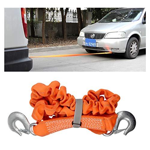 PKW PLUS Hochleistungs Abschleppseilgurt,Elastisches Abschleppseil,mit 2 Sicherheitshaken,Maximale Zugkraft 5 Tonnen (11023 Lb),für Auto/SUV/Geländewagen/Yacht/Landwirtschaftsfahrzeug