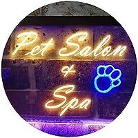 Pet Salon and Spa Illuminated Dual Color LED看板 ネオンプレート サイン 標識 青色 + 黄色 400 x 300mm st6s43-i0593-by