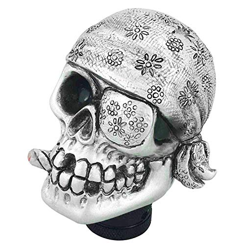 Abfer Funny Shifter Knob Skull Gear Shift Stick Car Shifting Knobs One-Eyed Pirate Style for Most Transport Vehicles, Silver
