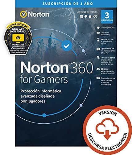 Norton 360 for Gamers 2021   Antivirus software para 3 Dispositivos   1 año, PC/Mac/tablet/smartphone   Código de activación enviado por email