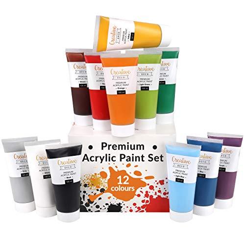 Creative Deco Peinture Acrylique XXL | Lot 12 Tubes Grands 100 ML | Fabriqué en UE | Idéal pour Bois Toile Tissu et Papier | pour Enfants Débutants Étudiants Artistes Professionnels