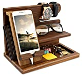 TESLYAR Natural Walnut Wood Phone Docking Station Key Holder Wallet Stand Watch Organizer Men Gift Husband Wife Anniversary Birthday Nightstand Purse Father Male Graduation Travel Idea Gadgets Solid