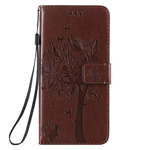 Miagon für iPhone 12 Pro Geldbörse Wallet Case,PU Leder Baum Katze Schmetterling Flip Cover Klapphülle Tasche Schutzhülle mit Magnet Handschlaufe Strap