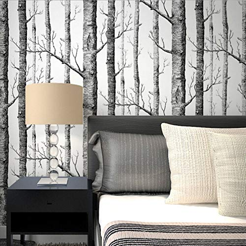 Jidan Rustikale Holzmaserung Tapete Schwarz Weiß Birke Wald Wand-Aufkleber Kontakt Papier Baum-Zweig Stamm Tapete Wand-Dekor (Color : 51168, Dimensions : 53cmx5m)
