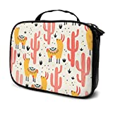 Travel Make Up Bags Gelbe Lamas Rote Kakteen Large Makeup Bag Cosmetic Orgainer Train Case 9.8x3.15x7.5Inch