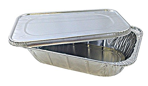 Quarter-Size Aluminum Foil Steam Table Pan with Lid - Disposable Food Storage Baking Containers (12)