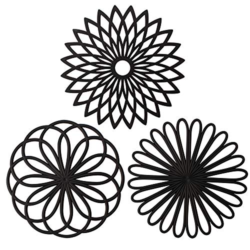 ME.FAN 3 Set Silicone Flower Trivet Mat - Premium Quality Insulated Flexible Durable Non Slip Coasters Hot Pads Black