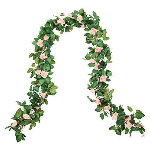 U'Artlines 4 Stück Gefälschte Rose Vine Künstliche Rose Girlande Hängende Rose Hochzeits für Hotel Home Party Garten Handwerk Kunst Hintergründe Dekor(250CM,Rosa)