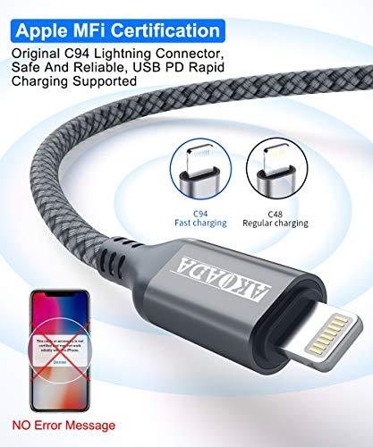 USB C Lightning Kabel 3M, AkoaDa MFi Zertifiziert Power Delivery Typ C Lightning Ladekabel Kompatibel Mit iPhone 12, 12 Mini, 12 Pro, 12 Pro Max,11,11 Pro, XR, XS, X, iPad Pro 2020, AirPods Pro (Grau)