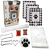 Hapinest Make Your Own Homemade Dog Treats Kit - Dog Bone Cookie Cutters, 24 Gift Bags and Tags, Dog Biscuit Roller, and 3 All Natural Dog Treat Recipes
