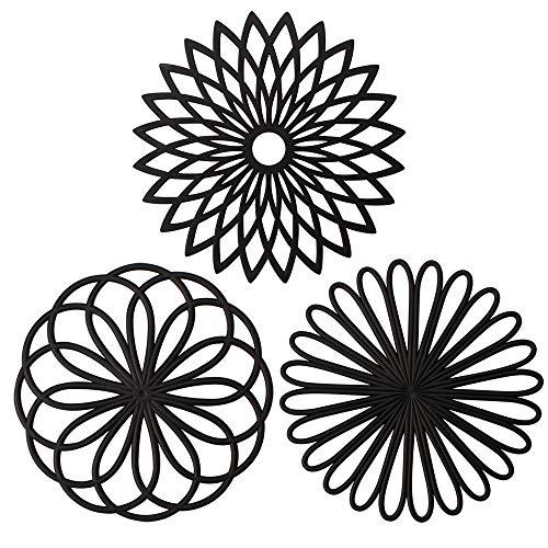 ME.FAN 3 Set Silicone Multi-Use Flower Trivet Mat - Premium Quality Insulated Flexible Durable Non Slip Coasters Hot Pads Black