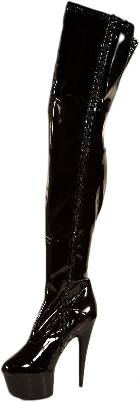 Women's 6 Inch Pointed Stiletto Heel Thigh High Stretch Boots (Black;11)
