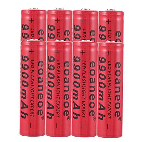 18650 Batería recargable de iones de litio de 3,7 V 9900 mAh Baterías de botón de gran capacidad para linterna LED, iluminación de emergencia, dispositivos electrónicos (8 pcs)