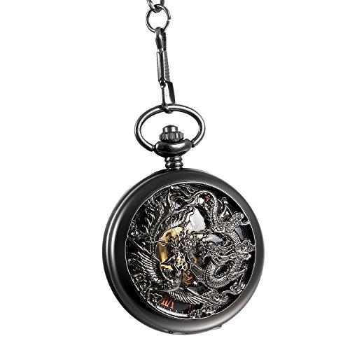 Avaner Reloj de Bolsillo Steampunk Vintage Reloj Mecanico de Dragón y Fénix Hueco Half Hunter, Reloj Negro Números Romanos, Buen