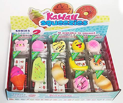 JM Squishies-Box of 24 Pieces Slow Rising 1.5'-4.5' Kawaii Cute Scented Squishy Charms Soft Ice Cream Macaroons Teddy Bears Buns Emoji Bread Key Chain Rings Straps Decompression Squeeze Toys for Kids