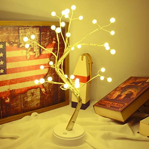 Luz LED Bonsái de 45 cm, funciona con USB y batería con interruptor táctil, lámpara de mesa para decoración de Navidad en el hogar (luz de árbol de perlas)