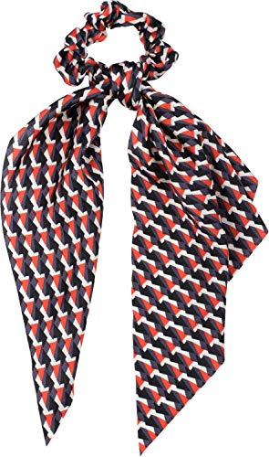 styleBREAKER Dames haarband met retro patroon en strik, elastiek, scrunchie, vlecht, driehoekige sjaal, haarband 04027015, Farbe:Rood-zwart-grijs